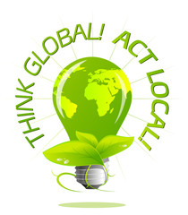 Think Global Act Local Light Bulb