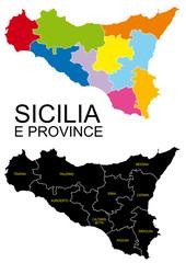 Sicilia con province separate in evidenza