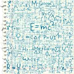 Squared paper with physical formulas