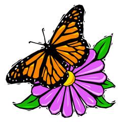 Woodcut butterfly on flower