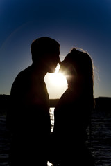 ready to kiss water silhouette