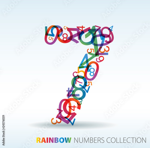 Number seven made from colorful numbers