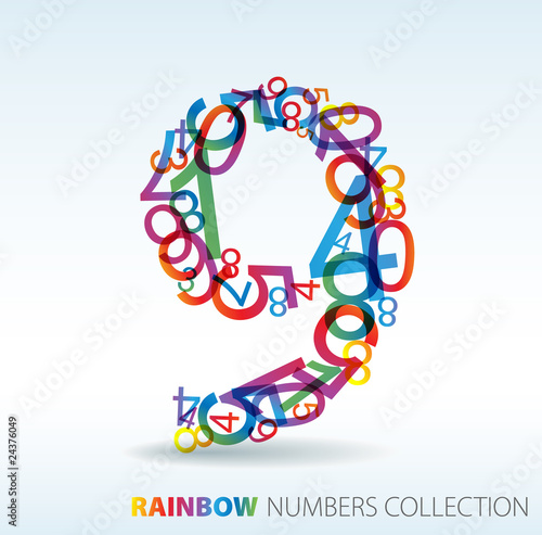 Number nine made from colorful numbers