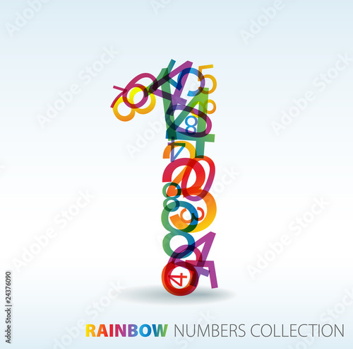 Number one made from colorful numbers