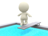 3D person on a trampoline