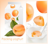 Background for design of packing yogurt. Apricot.