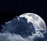 The moon behind some clouds