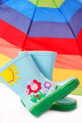 children`s wellington boots and umbrella