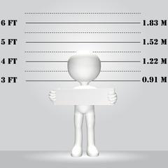 Symbol Person 3D WANTED lineup mugshot