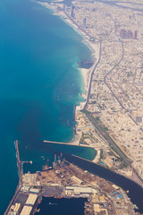 Aerial view Dubai Coastline