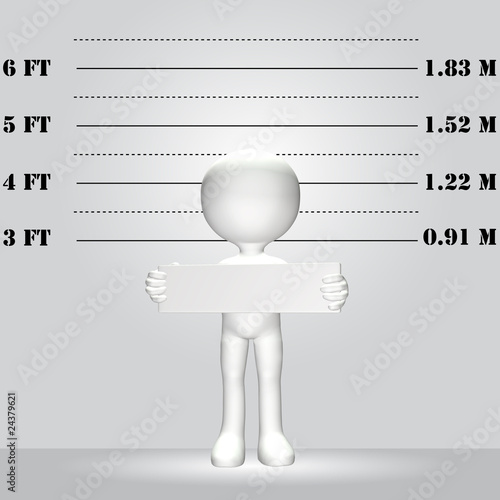 Symbol Person 3D WANTED lineup mugshot