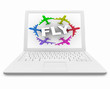 Fly Word and Planes on White Laptop Computer