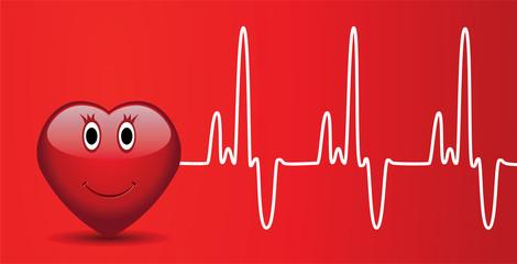 vector happy heart and heartbeat