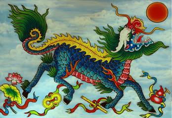 Mythical Dragon, painted relief