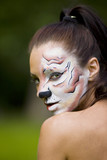 young woman with tigress face art poster