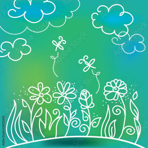 flowers cartoon background. flowers cartoon background. Zoom Not Available: Vector images scale to any