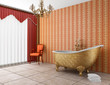 classic bathroom with old bathtub and red striped wall