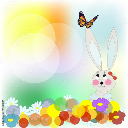 Rabbit with the butterfly