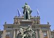 Leinwandbild Motiv Hauptbahnhof Zürich mit Alfred Escher Denkmal