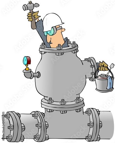 Man Working In A Pipe