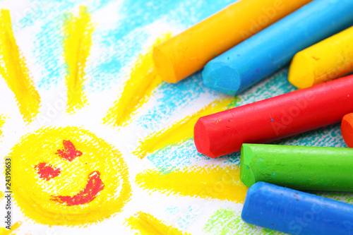 Oil Pastel Crayons on a white paper