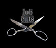 the words job cuts with a pair of scissors
