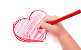 Fototapety Childrens hand with pencil draws the heart