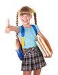 Schoolgirl with backpack holding books and showing thumb up.
