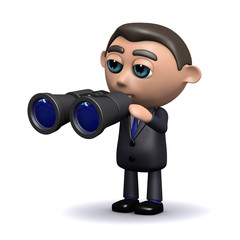 3d Businessman with binoculars