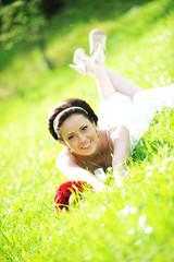 bride in white dress