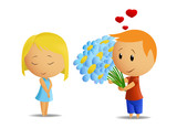 Cartoon boy present flowers to girl