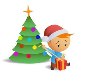Little boy open gift box