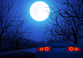 Sport car on night road