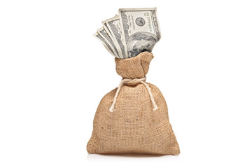 A money bag with US dollars