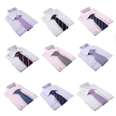 multi image of many male shirts with neckties isolated on white