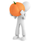 3d man holding a pumpkin, on white background