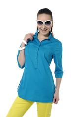 Fashion model portrait with sunglasses
