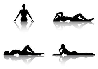 Set de siluetas femeninas desnudas