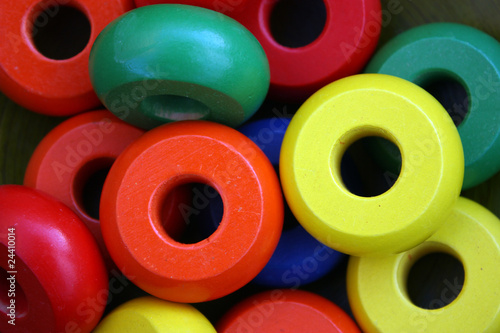 wooden multi-colored circles, background