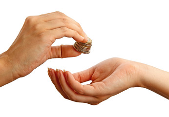Female giving stack of coins to another person