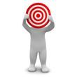Man holding red target. 3d rendered illustration.