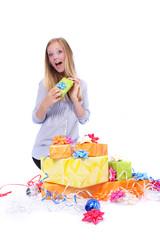 Überraschung Freude junge Frau