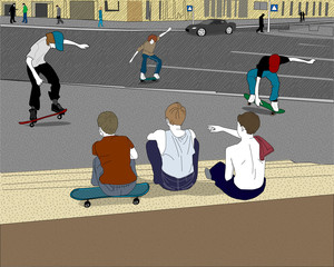Teens-skateboarders on the street