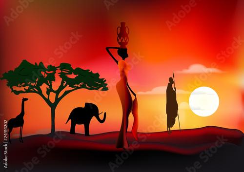 scène de vie africaine