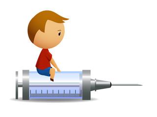 Little boy sitting on big syringe