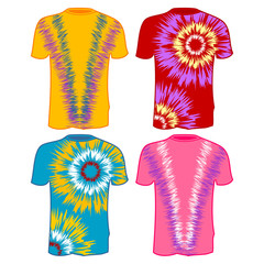 Tie Dye T-Shirts with different colors over white