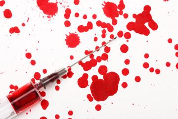 Blood with syringe