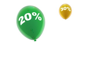Concept of discount with balloons, seamlessly loopable
