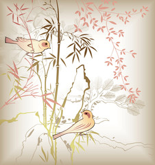 Oriental Bamboo Leaf and Bird 2