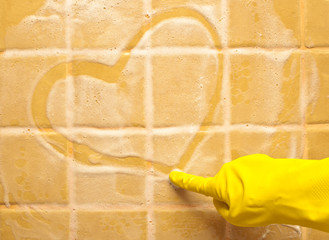 heart on soap wall